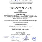 IQNet ISO 14001 certificate